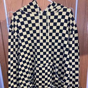 Yellow Checkered Print Hoodie